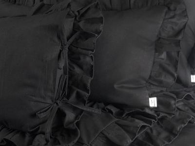 Czarna pościel antyalergiczna z falbanką