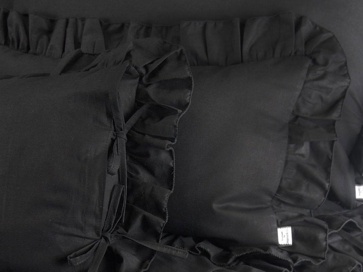 Czarne poszewki na jaśki 40 x 40 z falbanką 21,99/ szt.